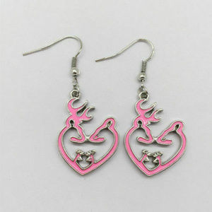 Jewelry - EARRINGS - DEER HEARTS - Love Jewelry Antler Pink